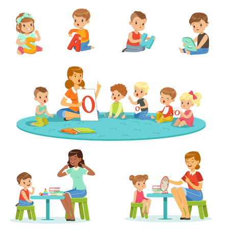 Illustration pour Smiling little boys and girls sitting on the floor and studying alphabet with their teacher set. Childrens activity in the kindergarden colorful vector illustrations - image libre de droit