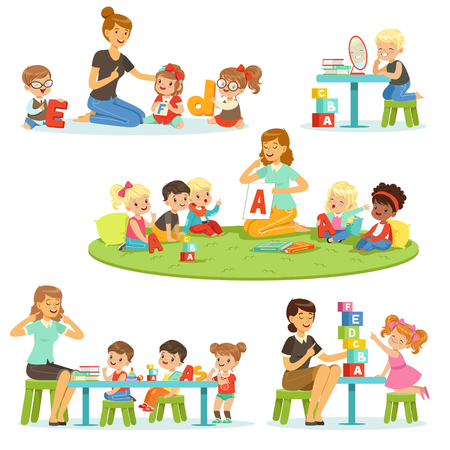 Illustration pour Teacher explaining alphabet to children around her set. Smiling little boys and girls playing and studying in kindergarten vector illustrations - image libre de droit