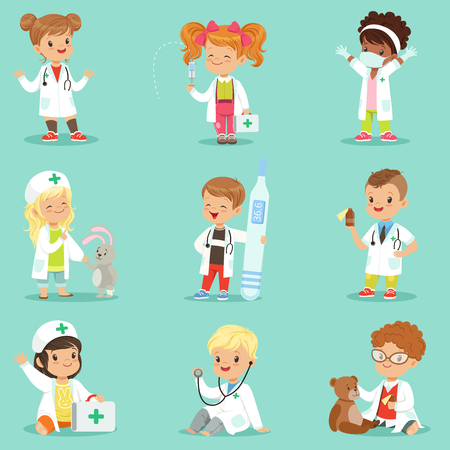 Adorable kids playing doctor set. Smiling little boys and girls dressed as doctors playing with toy medical equipment vector illustrations