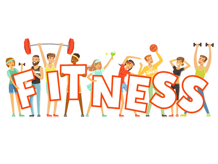 Illustration pour Group of smiling people in sport uniform holding the word Fitness cartoon colorful vector Illustration - image libre de droit