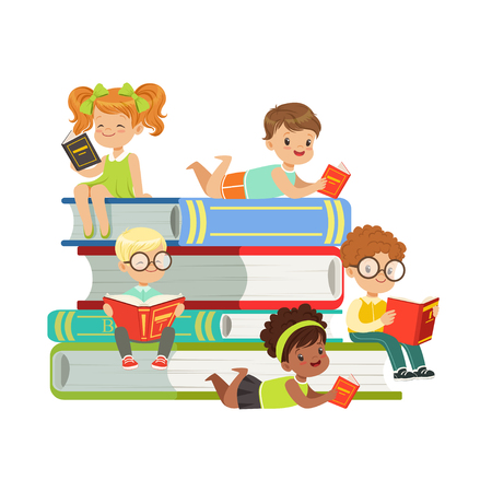 Illustration pour Cute boys and girls sitting on a pile of books and reading books, kids enjoying reading, colorful characters vector Illustration - image libre de droit
