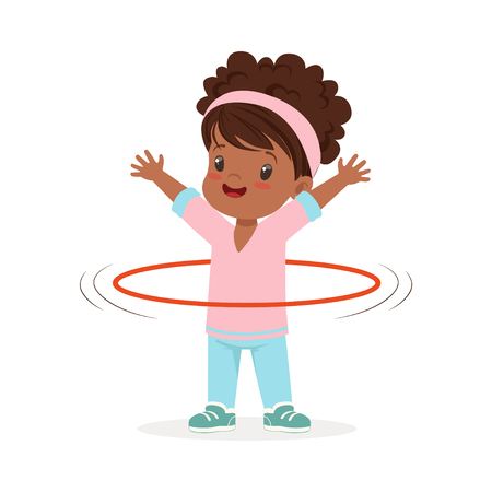 Girl spining a hula hoop around the waist, kid doing sports colorful character vector Illustration