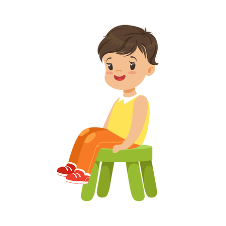 Illustration for Cute little boy sitting on a small green stool, colorful character - Royalty Free Image