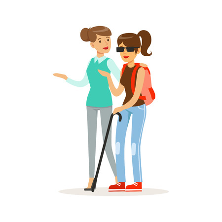 Illustration for Smiling female volunteer helping and supporting blind woman, healthcare assistance and accessibility colorful vector Illustration - Royalty Free Image