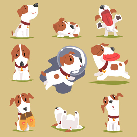 Illustration pour Cute little puppy in his evereday activity set, dogs daily routine funny colorful character vector Illustrations - image libre de droit