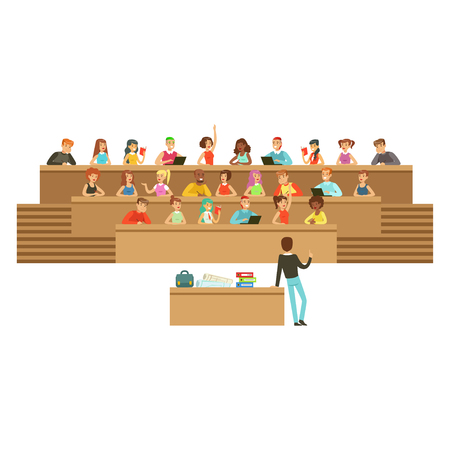 Illustration pour Students listening in a lecture hall in university or college, taking notes, asking questions, high school education vector Illustration - image libre de droit