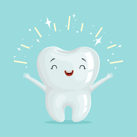 Illustration pour Cute healthy shiny cartoon tooth character, childrens dentistry concept vector Illustration - image libre de droit