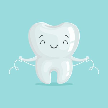 Illustration pour Cute healthy white cartoon tooth character cleaning itself with dental floss, oral dental hygiene, childrens dentistry concept vector Illustration - image libre de droit