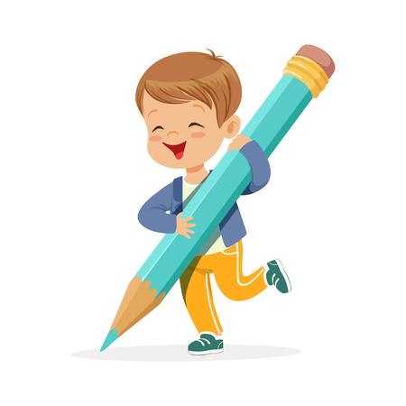Illustration pour Cute happy little boy holding giant light blue pencil cartoon vector Illustration on a white background - image libre de droit