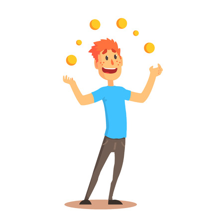 Illustration pour Young man character juggling with orange balls, circus or street actor colorful cartoon detailed vector Illustration - image libre de droit