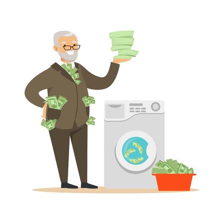 Vektor für Corrupt confident mature man in a business suit washing dirty money, illegal money laundering vector Illustration - Lizenzfreies Bild