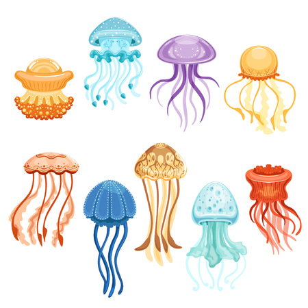 Ilustración de Colorful jellyfish set, swimming marine creatures watercolor vector Illustrations on a white background - Imagen libre de derechos