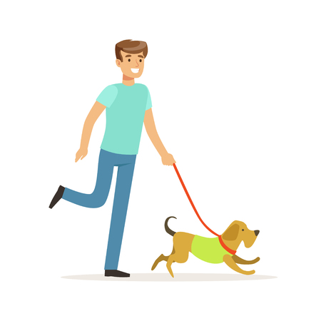 Young smiling man walking a dog vector Illustration on a white background