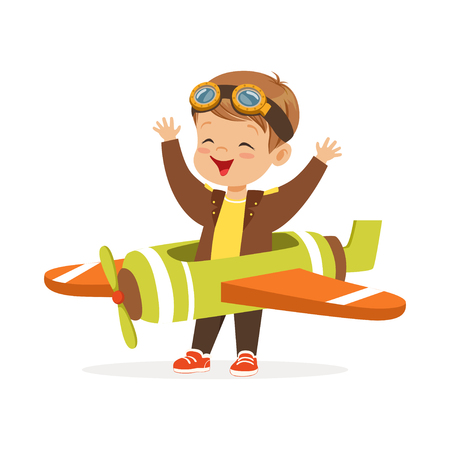 Ilustración de Cute little boy in pilot costume playing toy plane, kid dreaming of piloting the plane vector Illustration - Imagen libre de derechos