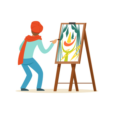 Illustration for Male painter artist character wearing red beret painting with colorful palette standing near easel vector Illustration - Royalty Free Image