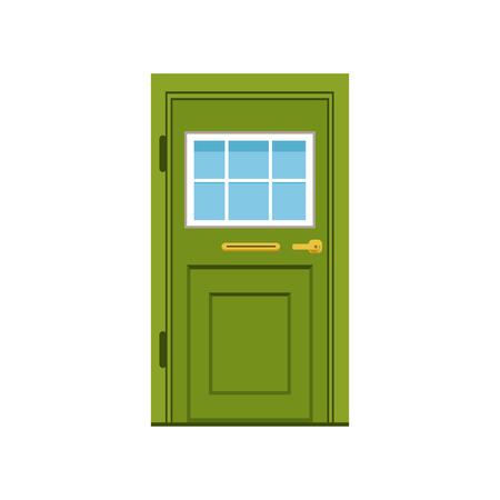 Illustration pour Green front door to house, closed elegant door vector illustration - image libre de droit