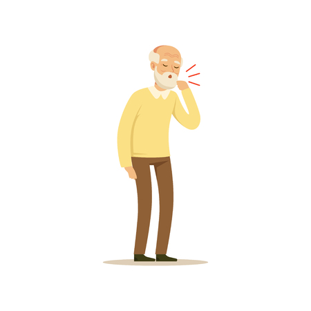Illustration pour Male Character Old Coughing Colourful vector Toon Cute Illustration - image libre de droit