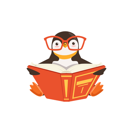 Illustration for vector Cute Toon Penguin In Glasses Reading A Book On White Background - Royalty Free Image