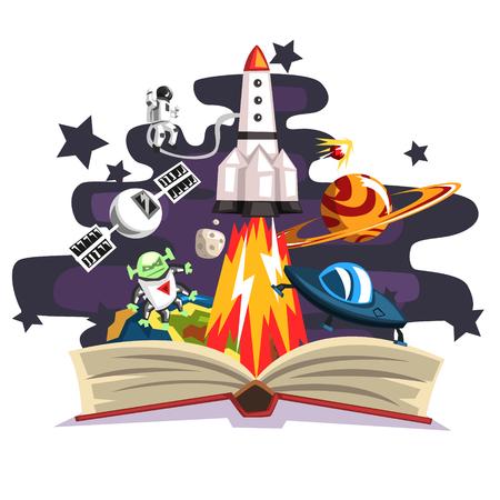 Ilustración de Open book with rocket, astronaut, planets, stars, UFO space ship and alien inside, imagination concept - Imagen libre de derechos