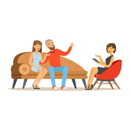 Ilustración de Young family couple characters talking to female psychologist about their problems, psychotherapy counseling, psychologist having session with patient vector Illustration - Imagen libre de derechos
