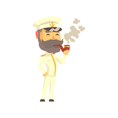 Illustration pour Ship captain in uniform smoking pipe cartoon vector Illustration - image libre de droit