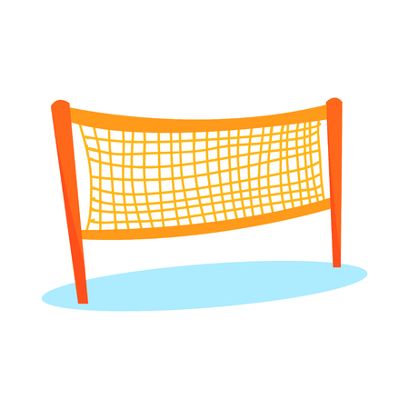 Ilustración de Cartoon orange volleyball or badminton net for playing field in flat style. Item for team sport. Beach game equipment for activity play. Vector illustration icon isolated on white background. - Imagen libre de derechos