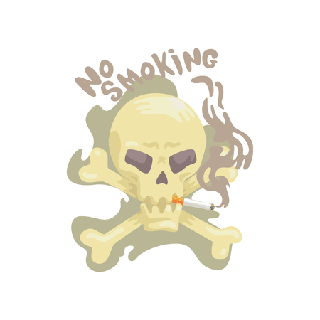 No smoking sign with skull and bones, bad habit, nicotine addiction cartoon vector Illustration