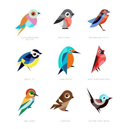 Illustration pour Different birds set, lilac breasted roller, bullfinch, red bellied pitta, great tit, kingfisher, northern cardinal, bee eater, sparrow, superb fairy wren vector Illustrations - image libre de droit