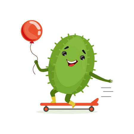 Illustration pour Cute cactus skateboarder, funny plant character scatebording with red balloon cartoon vector Illustration - image libre de droit
