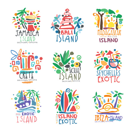 Illustration for Exotic islands summer vacation colorful   set - Royalty Free Image