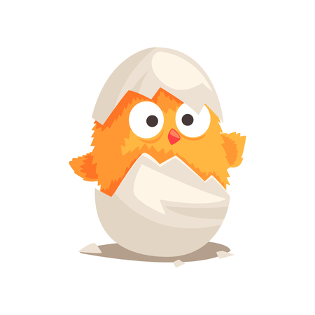 Illustration for Funny yellow newborn chicken in broken egg shell. Baby animal hatching from egg. Little creature life. Flat cartoon tiny pet character birthday. Cute cub emoji vector illustration isolated on white. - Royalty Free Image