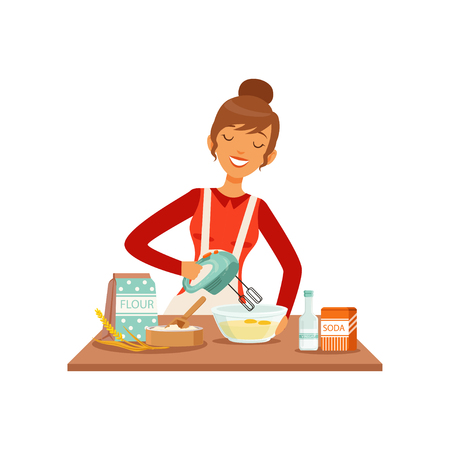 Vektor für Young cheerful woman mixing dough with mixer, housewife girl cooking food in the kitchen flat vector Illustration - Lizenzfreies Bild