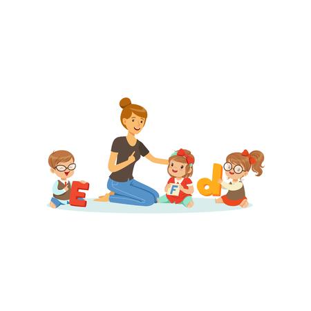 Ilustración de Group of preschool kids and teacher sit on carpet and learn letters. Speech and language therapist job. Vector flat design - Imagen libre de derechos