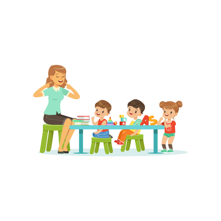 Illustration pour Kindergarten group of little kids, boys and girl doing exercises for development of speech with woman therapist. Flat design characters - image libre de droit