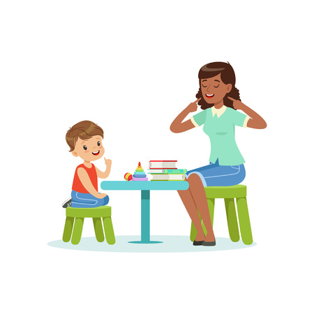 Illustration pour Professional speech therapy for preschool kid with therapist in kindergarten. Isolated flat vector - image libre de droit