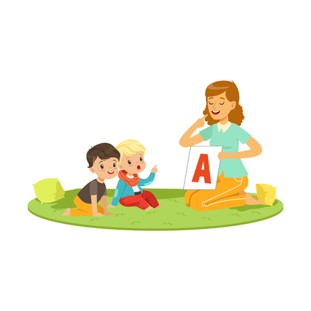 Illustration pour Woman with toddlers sitting on round carpet and playing in educational game for speech development. Flat people characters - image libre de droit