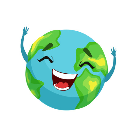 Illustration pour Happy Earth planet character, cute globe with smiley face and hands vector Illustration - image libre de droit