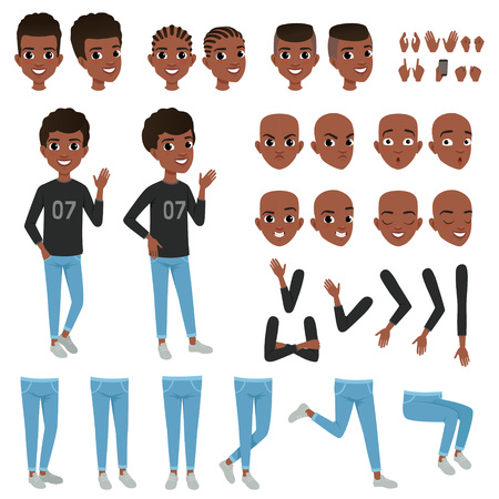 Illustration pour Teenager character constructor. Black boy s separate parts of body arms, legs, heads with different haircuts, hands gestures. Angry, calm, surprised and confident face expression. Flat vector design - image libre de droit