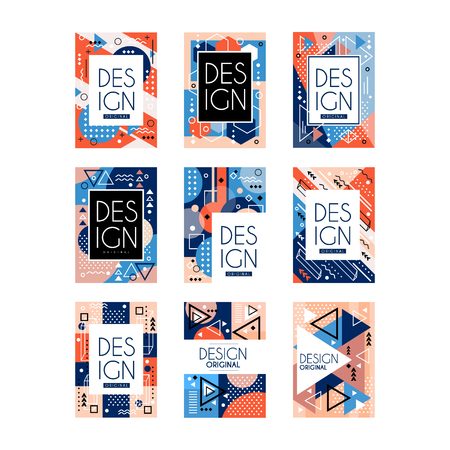 Foto de Set of Memphis style cards. Colorful abstract geometric pattern, texture design with place for text. Stylish greetings, flyers, hipster poster. Invitation to party. Vector collection isolated on white - Imagen libre de derechos