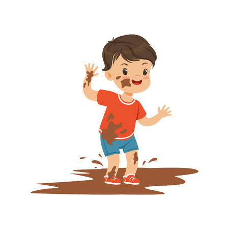 Illustration pour Cute bully boy jumping in a dirt, hoodlum cheerful little kid, bad child behavior vector Illustration - image libre de droit