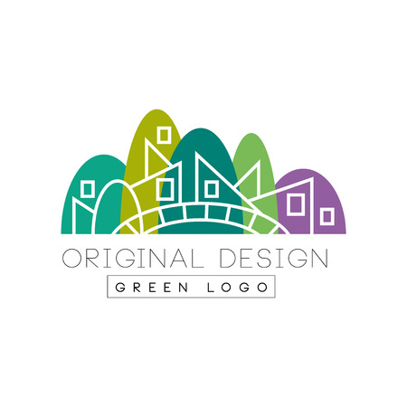 Original flat landmark with green park, bridge and linear buildings. Creative vector design for company icon, booklet, flyer or promotional poster.