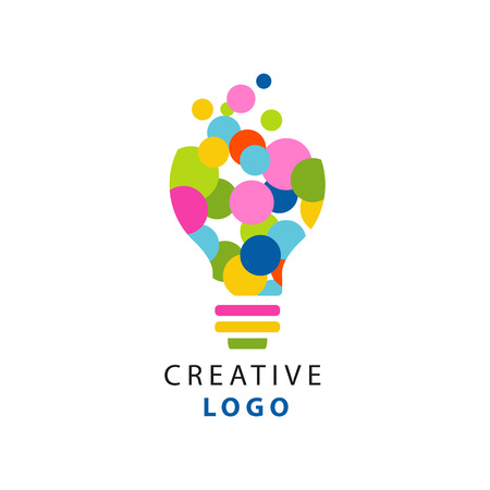 Ilustración de Original illustration of electric light bulb for creative idea logo. Children creativity and development center label. Flat vector isolated on white - Imagen libre de derechos