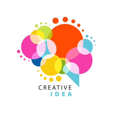 Ilustración de Creative idea logo template with abstract colorful speech bubble. Educational business, development center label. Power of thinking concept. Flat vector isolated on white - Imagen libre de derechos