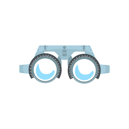 Trial frame for checking patient vision, ophthalmologist equipment cartoon vector Illustration
