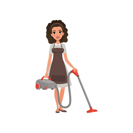 Ilustración de Cartoon character of hotel maid with vacuum cleaner. Young curly-haired girl in gray dress and brown apron. House cleaning service. Professional at work. Flat vector illustration isolated on white. - Imagen libre de derechos
