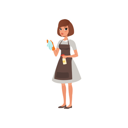 Illustration pour Cartoon woman character holding rag and spray bottle with cleaning liquid. Hotel maid service. Domestic worker. Girl in gray dress, brown apron and orange glove. Flat vector design isolated on white. - image libre de droit