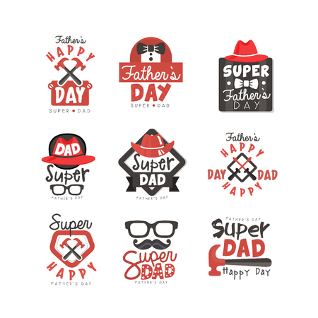 Illustration pour Happy Fathers Day icon set. Super dad vector illustrations isolated on a white background. - image libre de droit