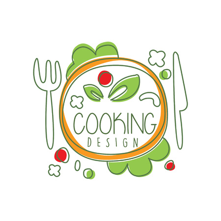 Illustration pour Culinary logo original design with top view dinner dish and lettering. Creative label for cafe or restaurant card, menu, food delivery. Vector on white. - image libre de droit