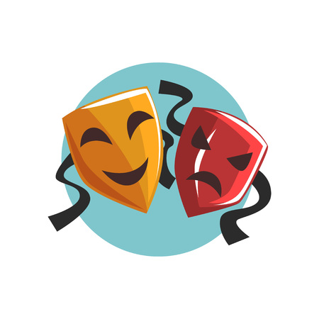 Illustration for Comedy and tragedy theatrical masks cartoon vector Illustration - Royalty Free Image