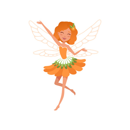 Illustration pour Cheerful red-haired fairy with little magic wings. Cartoon girl wearing beautiful orange flower shaped dress. - image libre de droit